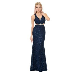 Sequined Lace with Side Cut Mermaid Formal…
